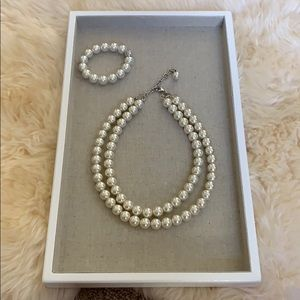 Pearl-like beaded necklace and bracelet set
